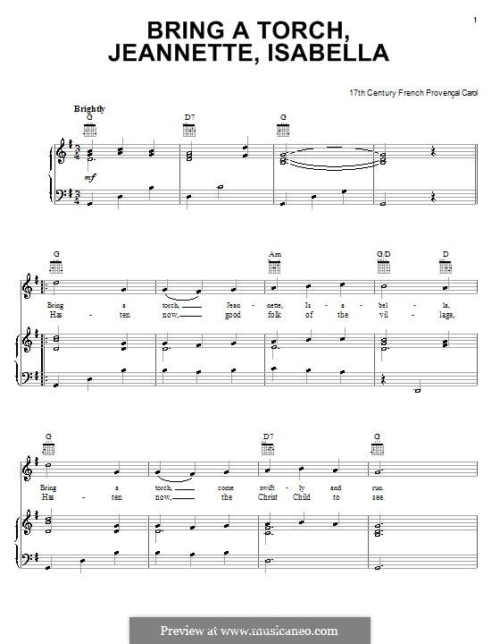 Bring a Torch, Jeannette Isabella: Para vocais e piano (ou Guitarra) by folklore