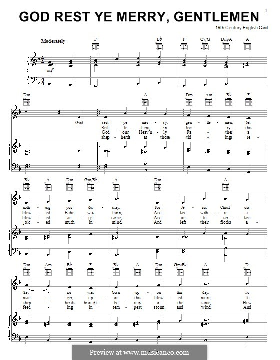 God Rest You Merry, Gentlemen (Printable Scores): Para vocais e piano (ou Guitarra) by folklore