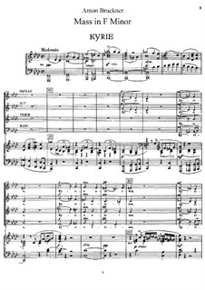 Mass No.3 in F Minor, WAB 28: Partitura piano-vocal by Anton Bruckner