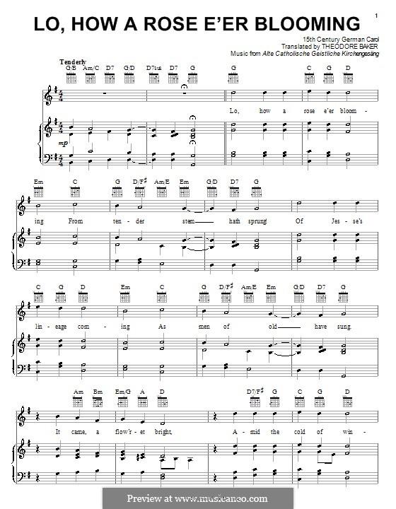 Lo, How a Rose E'er Blooming: Para vocais e piano (ou Guitarra) by folklore