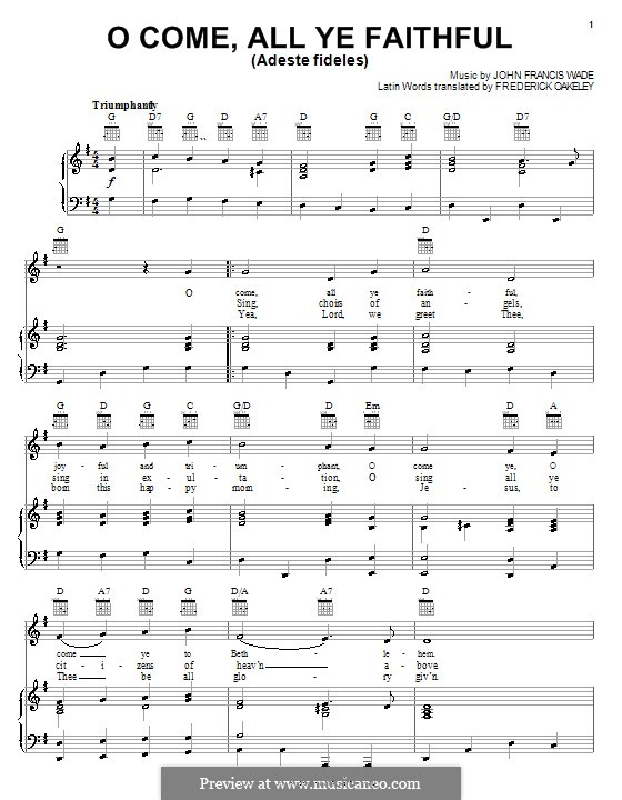 O Come, All Ye Faithful (Printable Scores): Para vocais e piano (ou Guitarra) by John Francis Wade