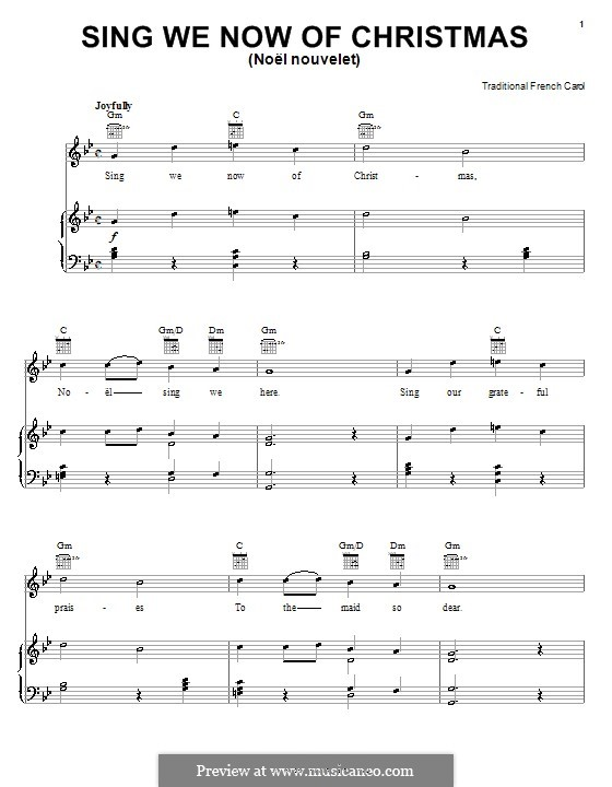 Sing We Now of Christmas (from Morning Star): Para vocais e piano (ou Guitarra) by folklore