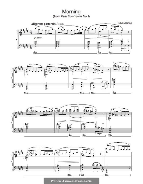 Suite No.1. Morning Mood, Op.46 No.1: Para Piano by Edvard Grieg