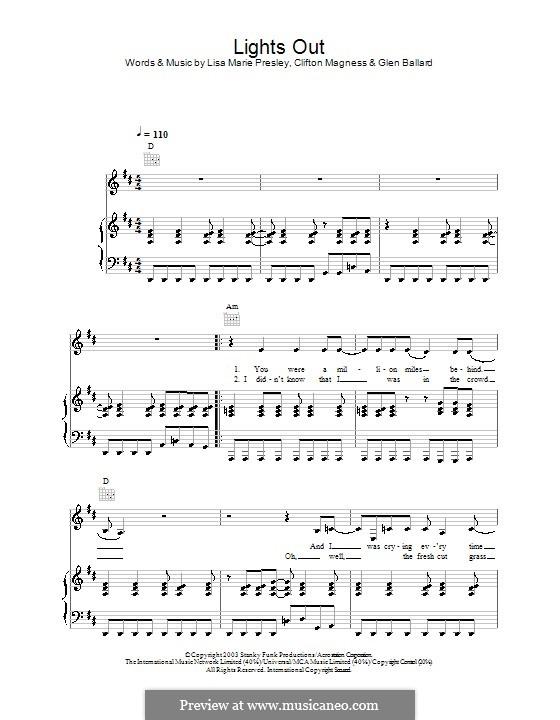 Lights Out: Para vocais e piano (ou Guitarra) by Clifton Magness, Glen Ballard