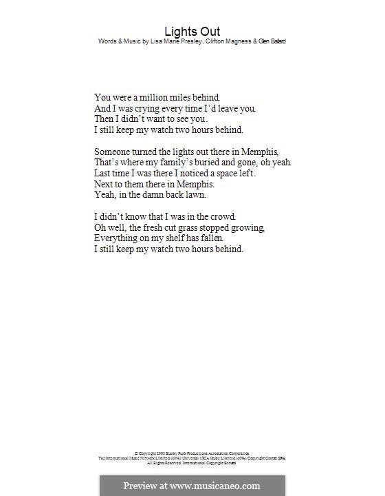 Lights Out: só letras by Clifton Magness, Glen Ballard