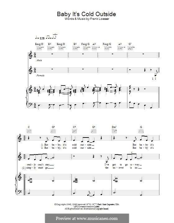 Baby, it's Cold Outside: For voices and piano or guitar (C Major) by Frank Loesser