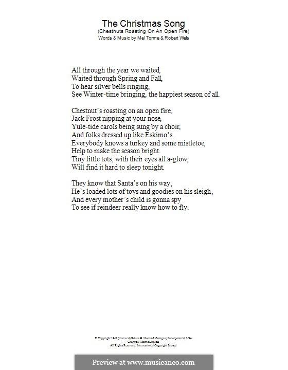 The Christmas Song (Chestnuts Roasting on an Open Fire): só letras by Mel Tormé, Robert Wells