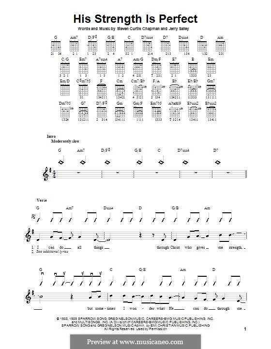 His Strength Is Perfect: Para guitarra com guia by Jerry Salley