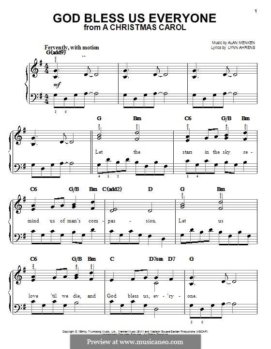God Bless Us Everyone (from A Christmas Carol): Facil para o piano by Alan Menken