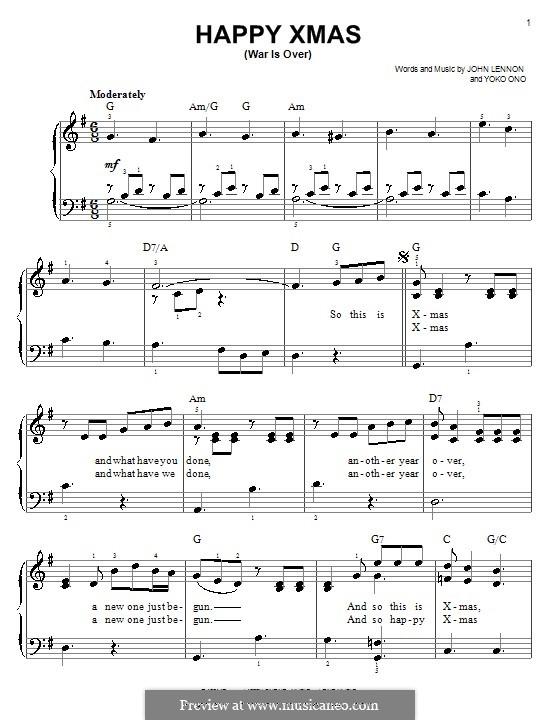 Happy Xmas (War Is Over): Facil para o piano by John Lennon, Yoko Ono