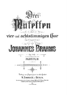 Three Motets, Op.110: set completo by Johannes Brahms