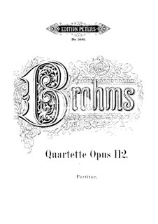 Quartets for Voices and Piano, Op.112: Quartets for Voices and Piano by Johannes Brahms