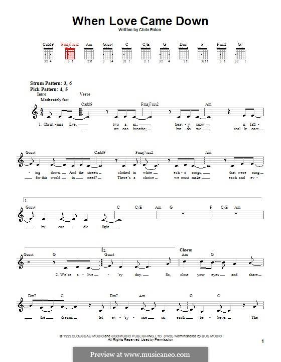 When Love Came Down (Point of Grace): Para guitarra (versão facil) by Chris Eaton