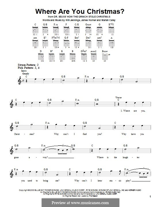 Where Are You Christmas?: Para guitarra (versão facil) by James Horner, Mariah Carey, Will Jennings