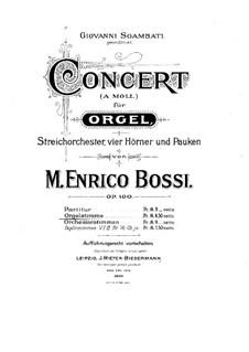 Concerto for Organ, String Orchestra, Four French Horns and Timpani, Op.100: Concerto for Organ, String Orchestra, Four French Horns and Timpani by Marco Enrico Bossi