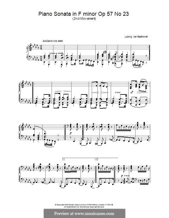 Sonata for Piano No.23 'Appassionata', Op.57: movimento II by Ludwig van Beethoven