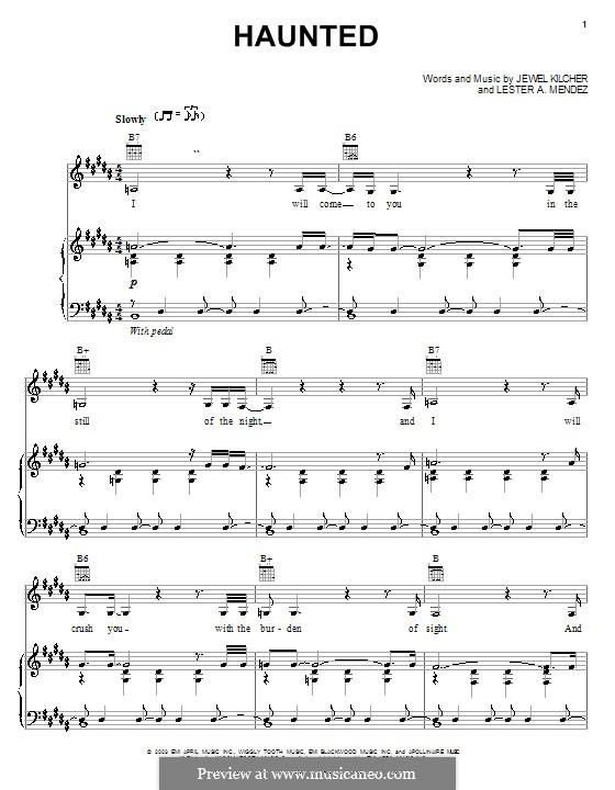 Haunted (Jewel): Para vocais e piano (ou Guitarra) by Jewel Kilcher, Lester A. Mendez