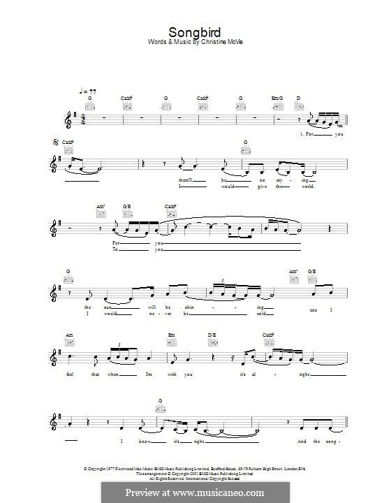 Songbird (Fleetwood Mac): melodía,letras e acordes by Christine McVie