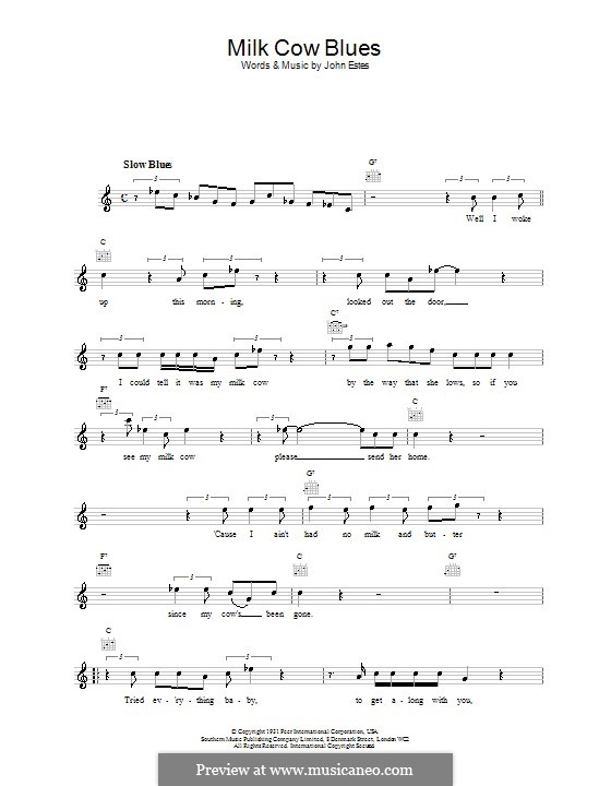 Milk Cow Blues: melodía,letras e acordes by John Estes