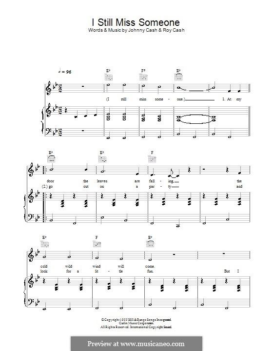 I Still Miss Someone: Para vocais e piano (ou Guitarra) by Johnny Cash, Roy Cash Jr.