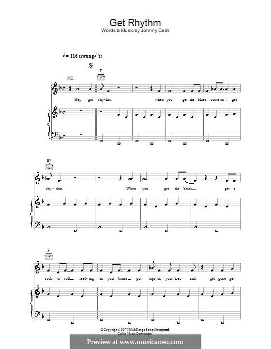 Get Rhythm: Para vocais e piano (ou Guitarra) by Johnny Cash