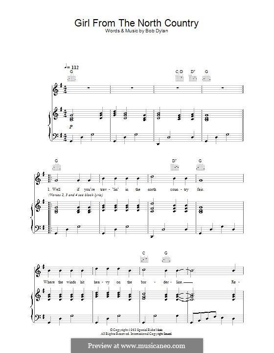 Girl from the North Country: Para vocais e piano (ou Guitarra) by Bob Dylan