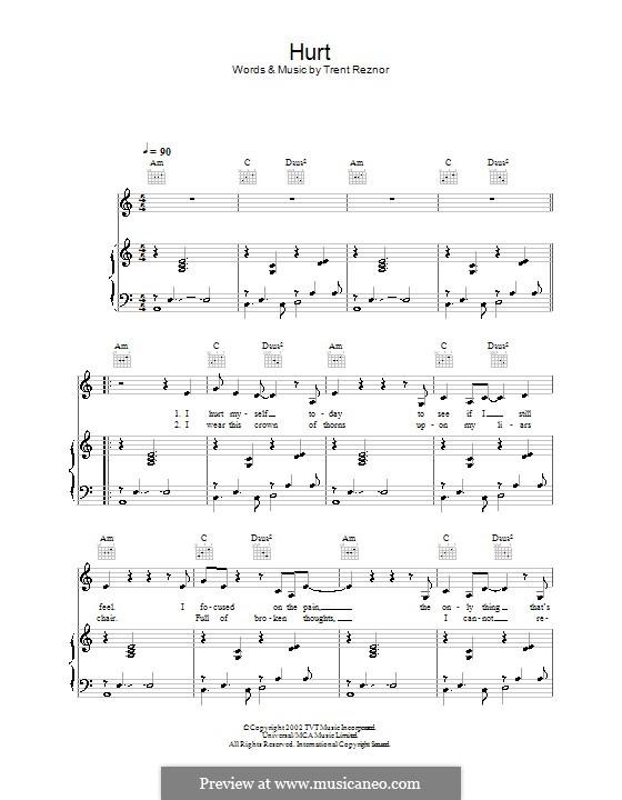 Hurt (Nine Inch Nails): Para vocais e piano (ou Guitarra) by Trent Reznor