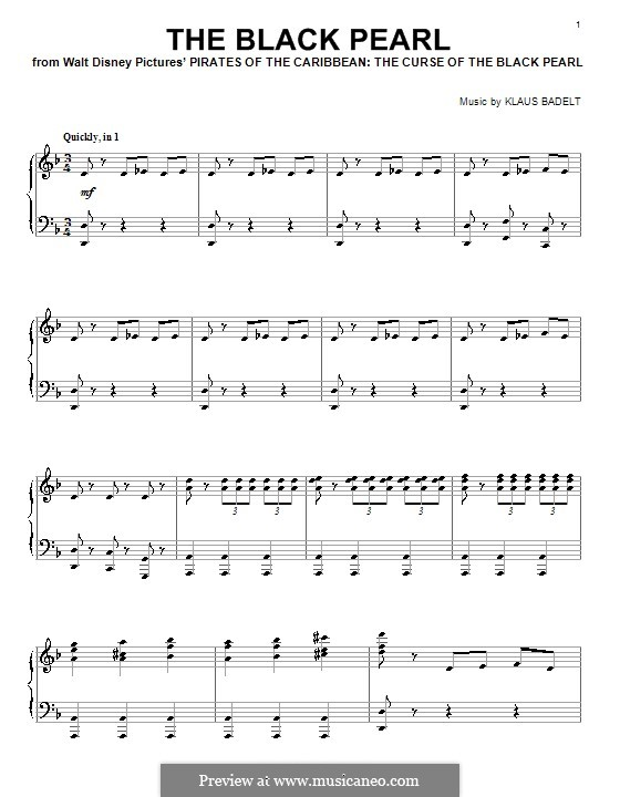 The Black Pearl (from Pirates of the Caribbean: The Curse of the Black Pearl): Para Piano by Klaus Badelt