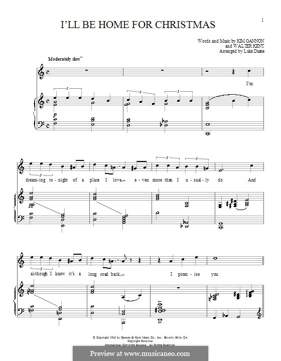 I'll Be Home for Christmas: For voice and piano or guitar (Bing Crosby) by Kim Gannon, Walter Kent