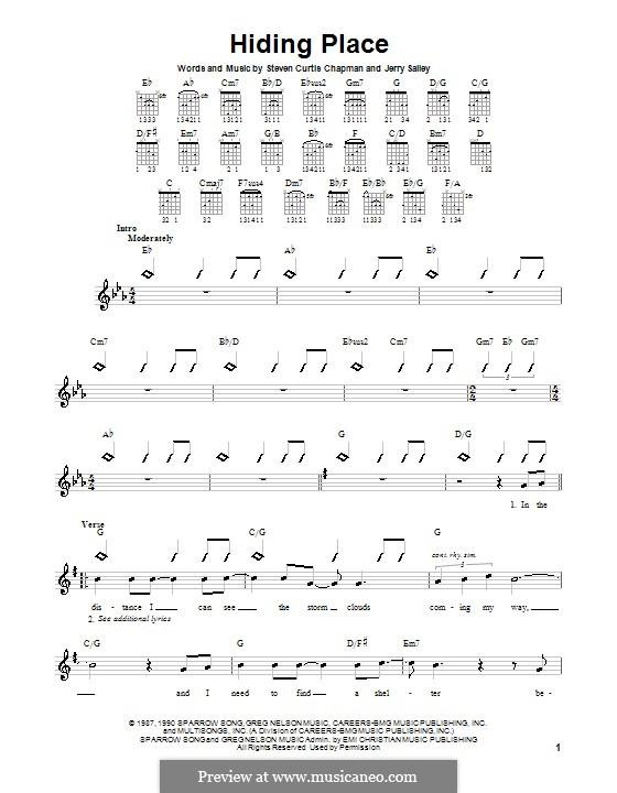 Hiding Place: para guitarras (com dedilhado) by Jerry Salley