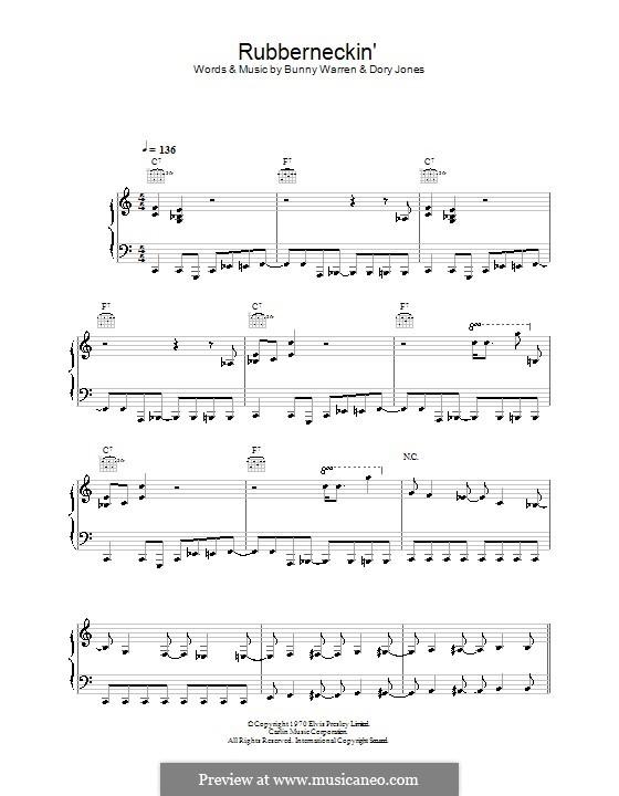 Rubberneckin' (Elvis Presley): Para vocais e piano (ou Guitarra) by Bunny Warren