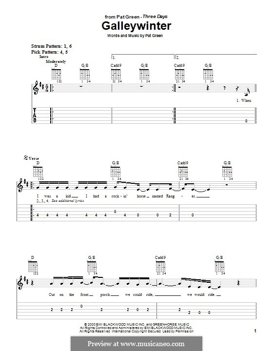 Galleywinter: Para guitarra (versão facil) by Pat Green