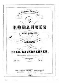 Three Romances without Words, Op.189: Three Romances without Words by Friedrich Kalkbrenner