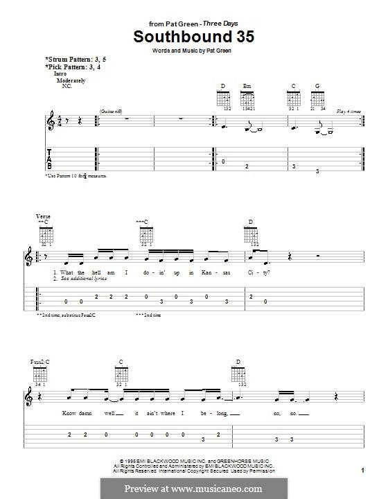 Southbound 35: Para guitarra (versão facil) by Pat Green