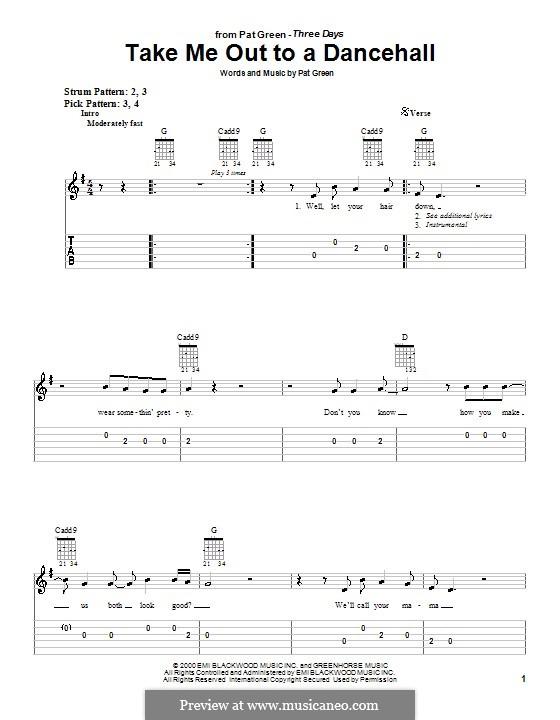 Take Me Out To a Dancehall: Para guitarra (versão facil) by Pat Green
