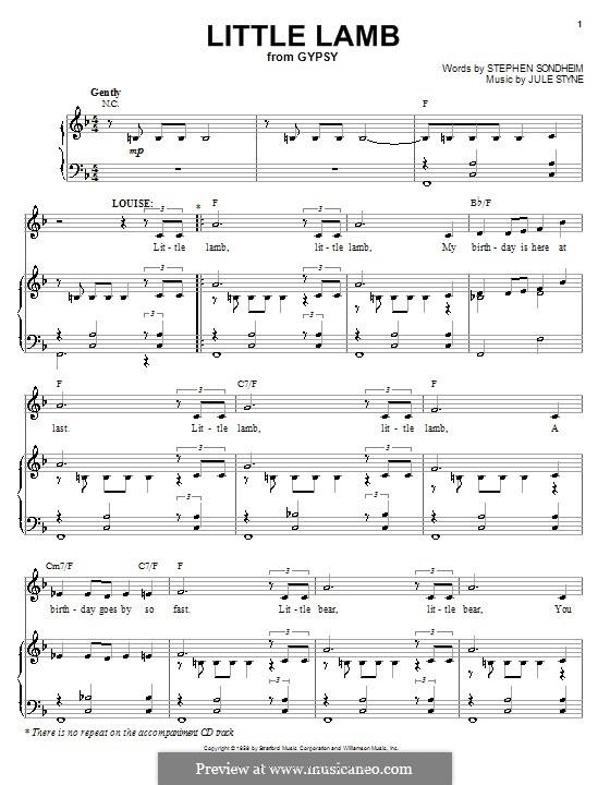 Little Lamb: Para vocais e piano (ou Guitarra) by Jule Styne