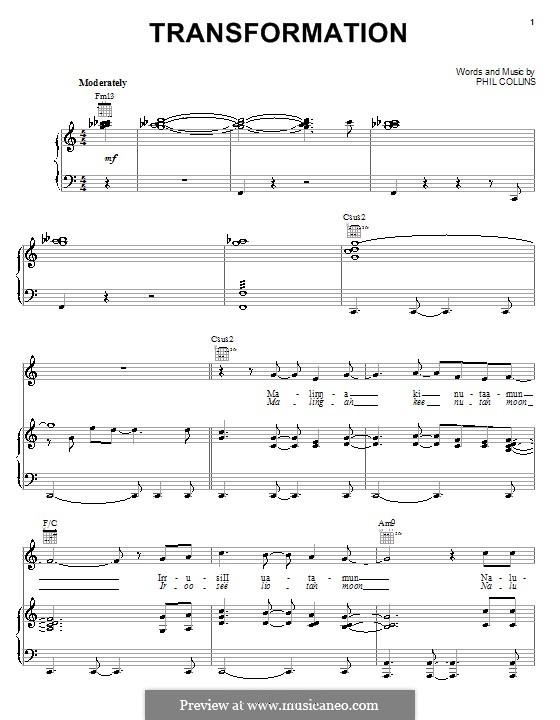Transformation (from Walt Disney's Brother Bear): Para vocais e piano (ou Guitarra) by Phil Collins