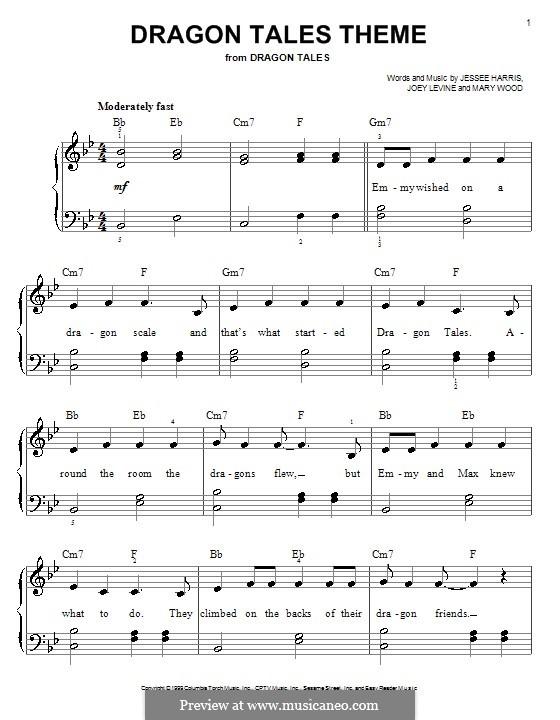 Dragon Tales Theme (Jessee Harris): Facil para o piano by Joey Levine, Mary Wood
