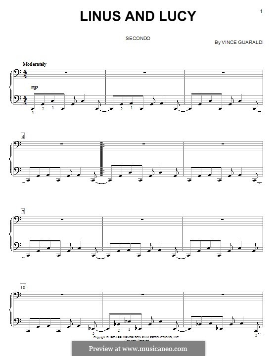 Linus and Lucy (from A Boy Named Charlie Brown): para piano de quadro mãos by Vince Guaraldi