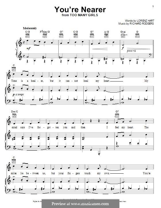 You're Nearer: Para vocais e piano (ou Guitarra) by Richard Rodgers