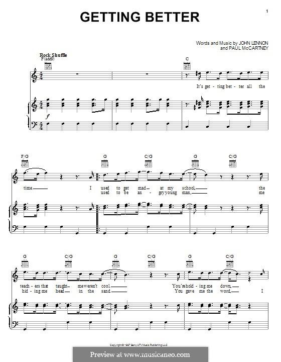 Getting Better (The Beatles): Para vocais e piano (ou Guitarra) by John Lennon, Paul McCartney