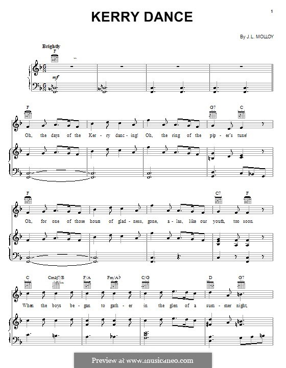 The Kerry Dance: Partitura Piano-vocal by James L. Molloy