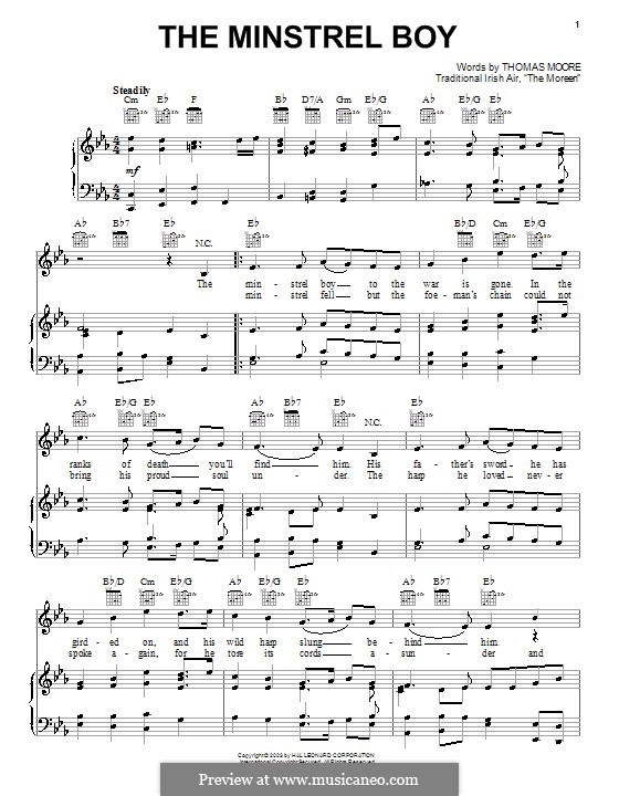 The Minstrel Boy (The Moreen): Para vocais e piano (ou Guitarra) by folklore