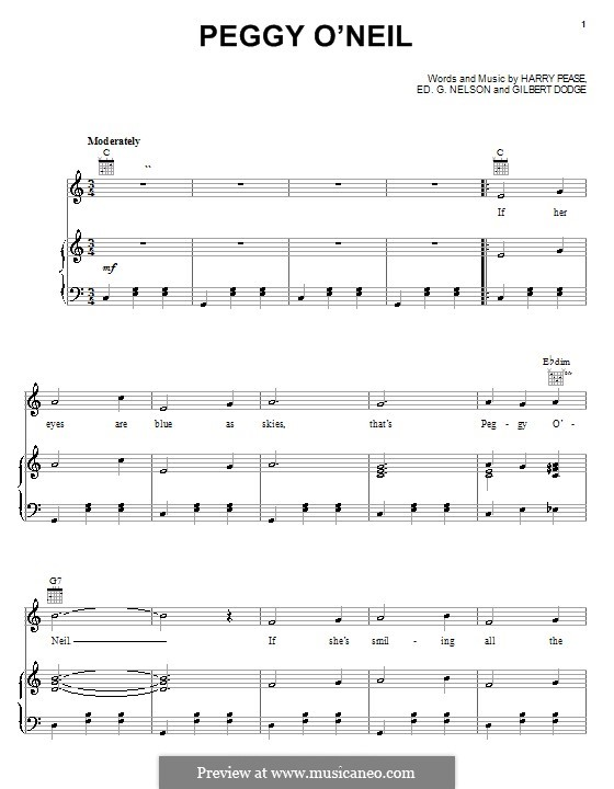 Peggy O'Neil (Harry Pease): Para vocais e piano (ou Guitarra) by Ed G. Nelson, Gilbert Dodge