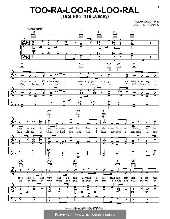 Too-Ra-Loo-Ra-Loo-Ral (That's an Irish Lullaby): Para vocais e piano (ou Guitarra) by James Royce Shannon