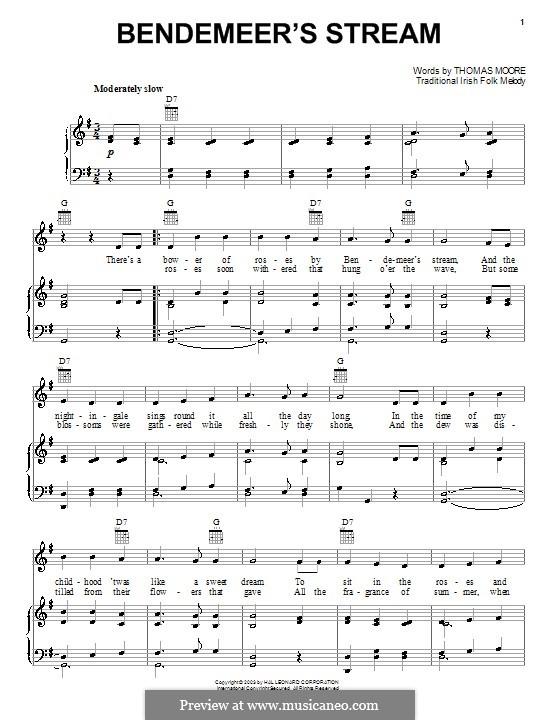 Bendemeer's Stream: Para vocais e piano (ou Guitarra) by folklore