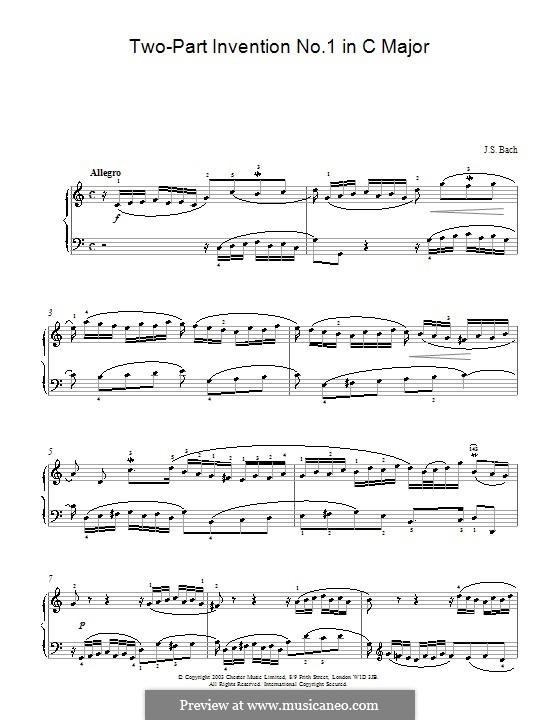 No.1 in C Major, BWV 772: para piano (partituras de alta qualidade) by Johann Sebastian Bach