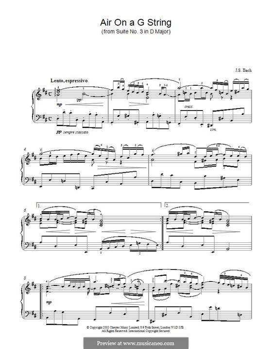 Aria (Printable Scores): versão para piano by Johann Sebastian Bach