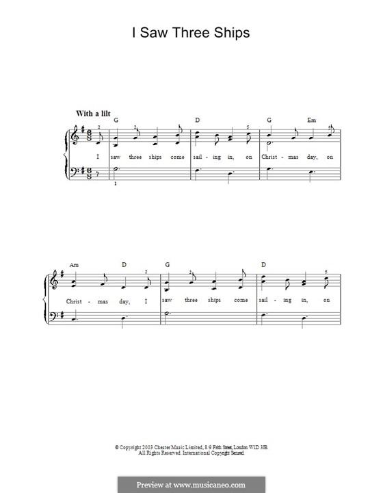 I Saw Three Ships: Facil para o piano by folklore