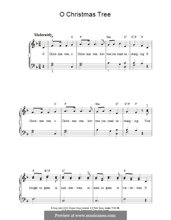 O Christmas Tree, for Piano: Versão para piano facil (F maior) by folklore
